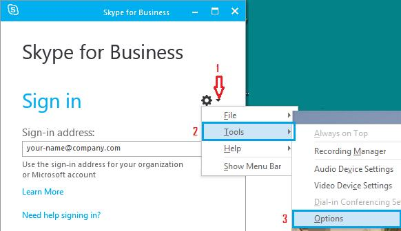 Tools and Options Tab in Skype for Business App in Windows 10