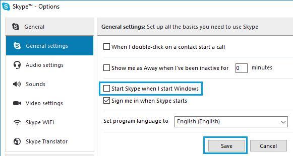 Stop Skype from Opening When I Start Windows Option