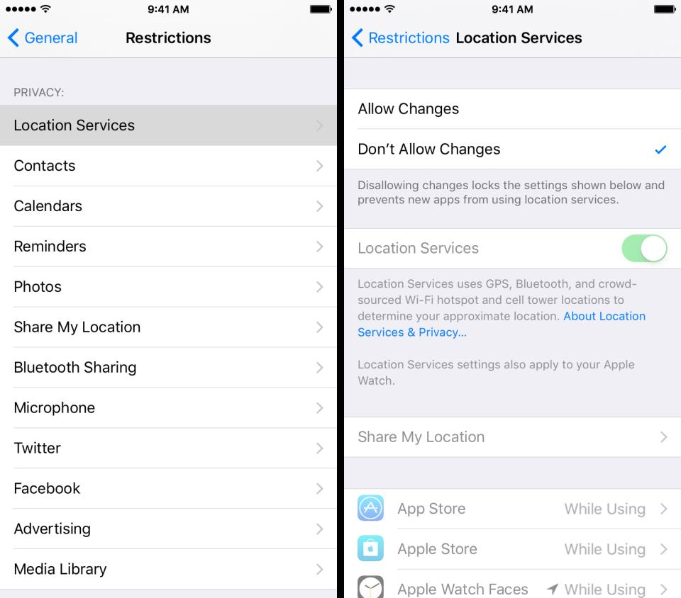 iOS 9 Restrictions Location Services iPhone screenshot 001