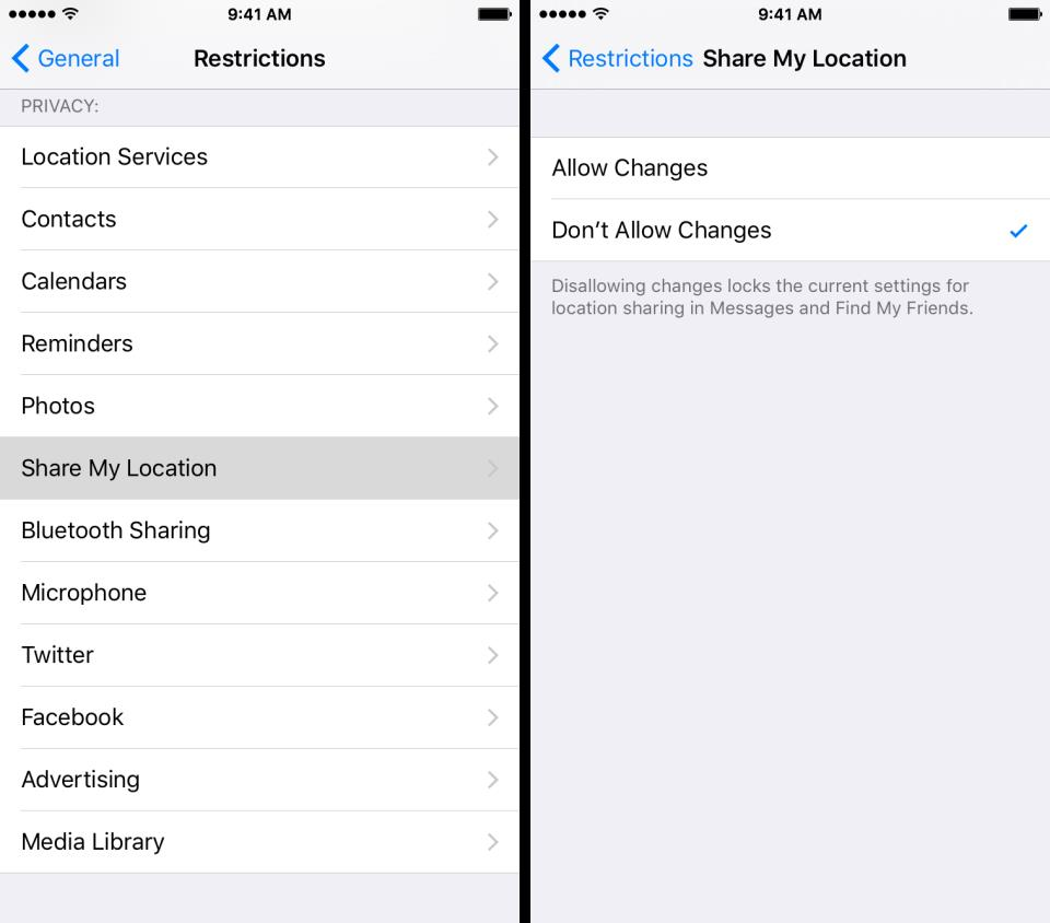 iOS 9 Settings Restrictions Shre My Location iPhone screenshot 001