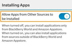 BlackBerry Allows Apps from Other Sources to be Installed