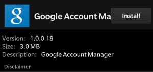 Install Google Account Manager