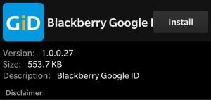 Install Blackberry Google ID