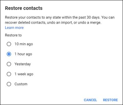 Retrieve deleted or removed Google contacts