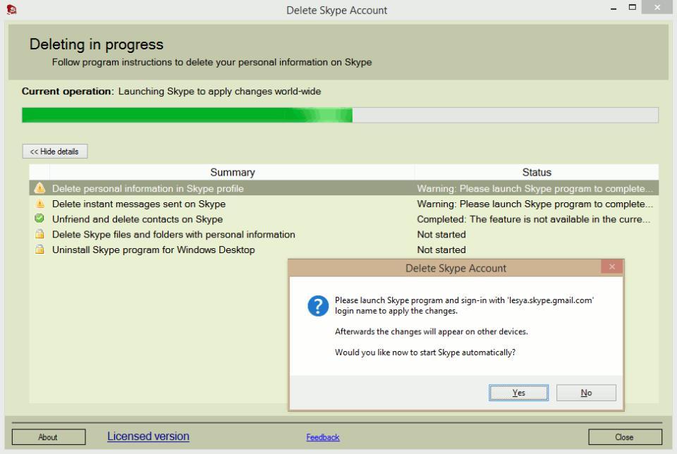 Delete Skype Account. Progress Screen. Launch Skype Program