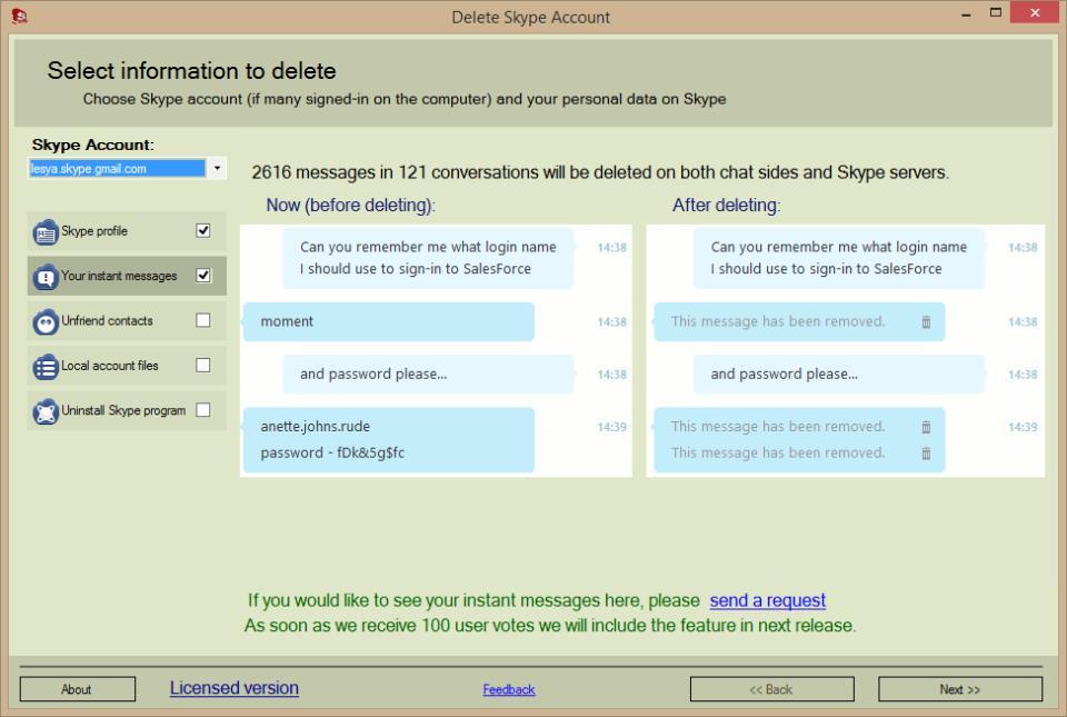 Delete Skype Account. Main screen. Delete Instant Messages