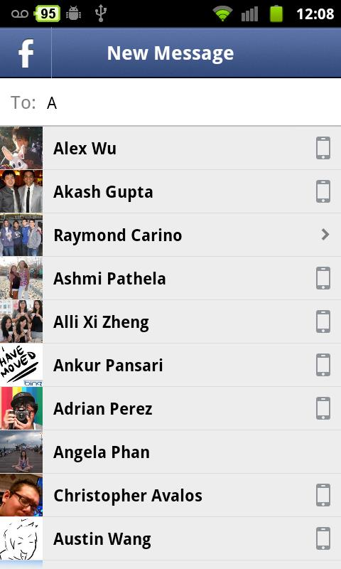 Some of the people that I can message via Facebook Messenger