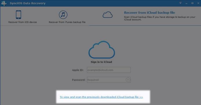 scan downloaded iCloud backup file