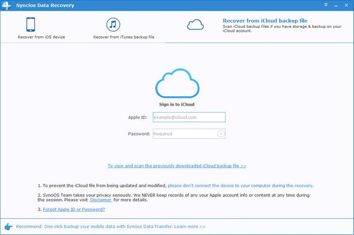 sign in to recover from iCloud backup file