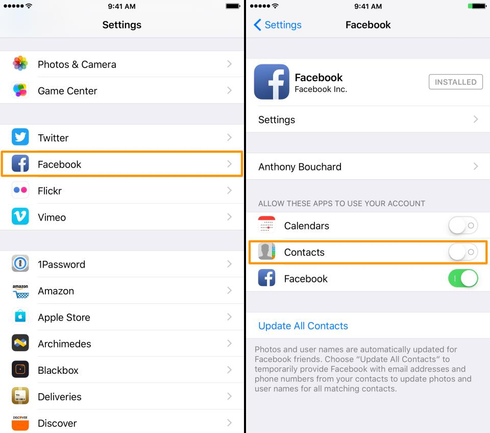Settings Facebook Contacts