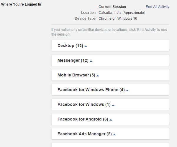 log out from Facebook Messenger in Windows Phone