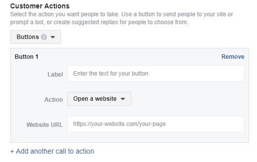 facebook customer actions