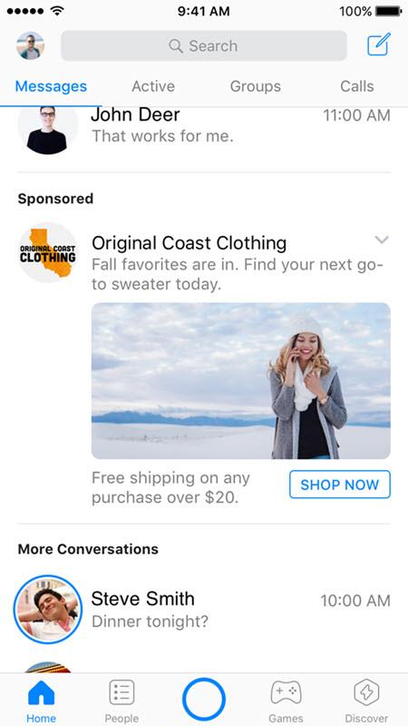facebook messenger ad types