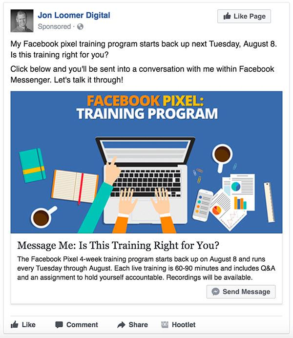 facebook ads messenger cta