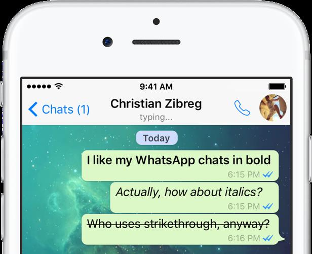 WhatsApp for iOS bold italics strikethrough teaser 001