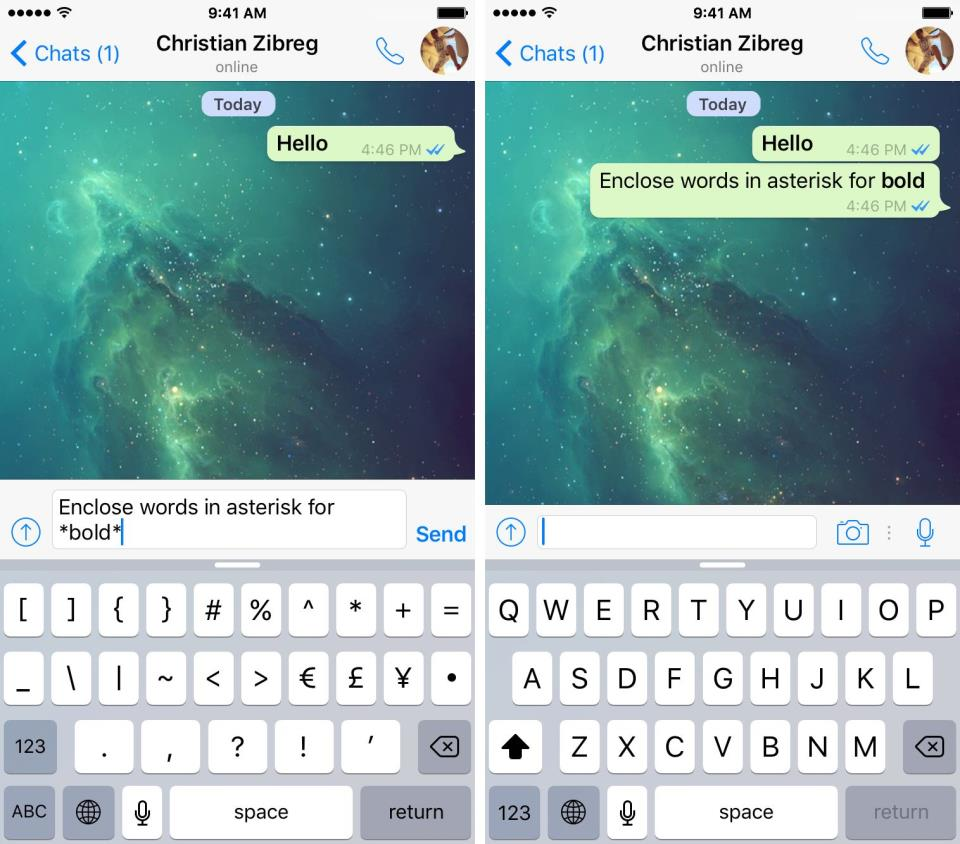 WhatsApp for iOS how to italics iPhone screenshot 001