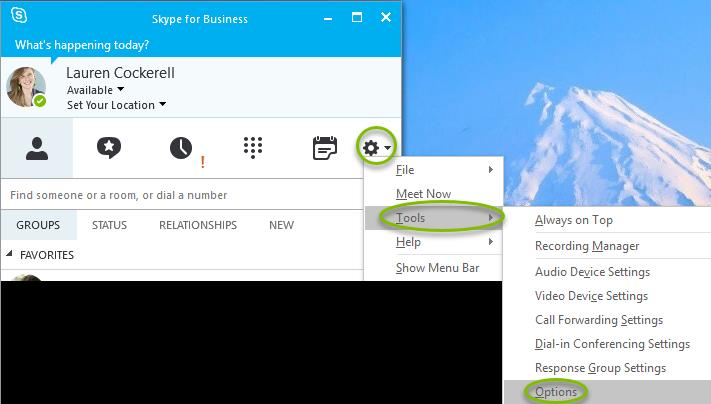 how to change skype for business settings idle 1