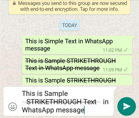 howto strikethrough text in whatsapp message