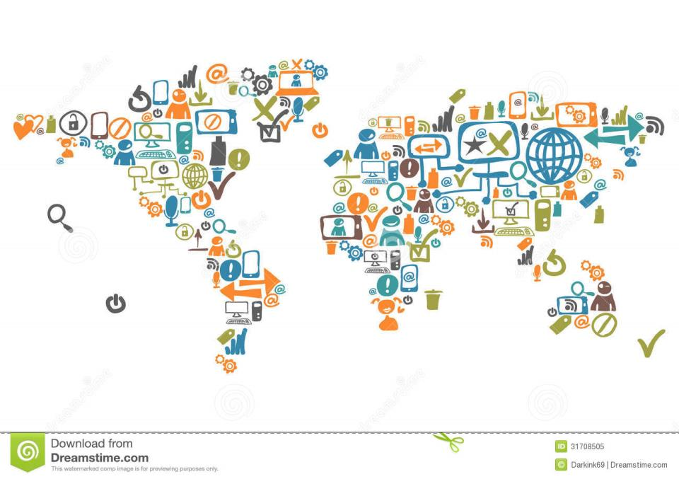 World Map Composed From Social Web Icons Royalty Free ...