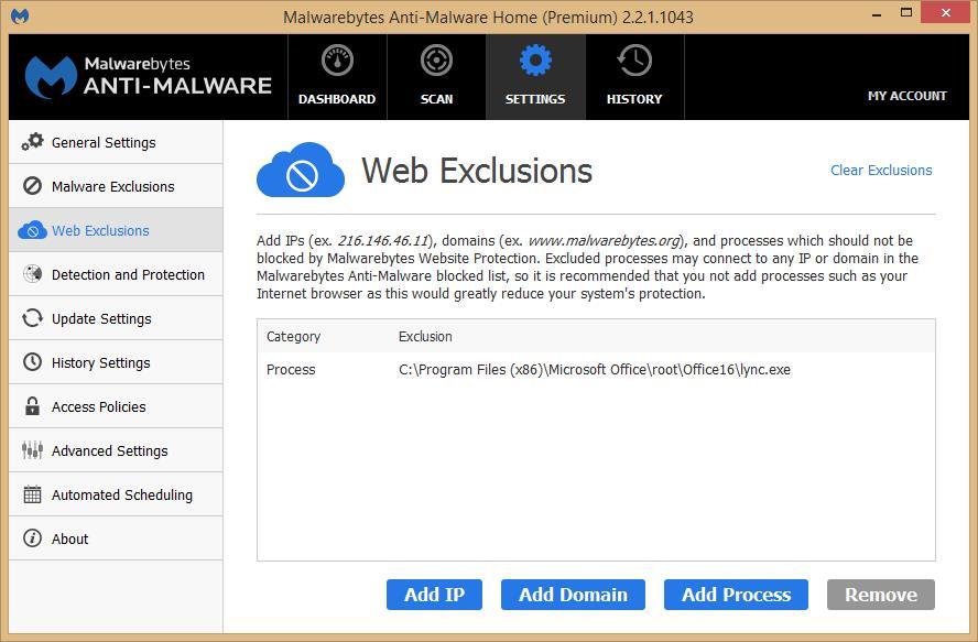 Malwarebytes Web Exclusion