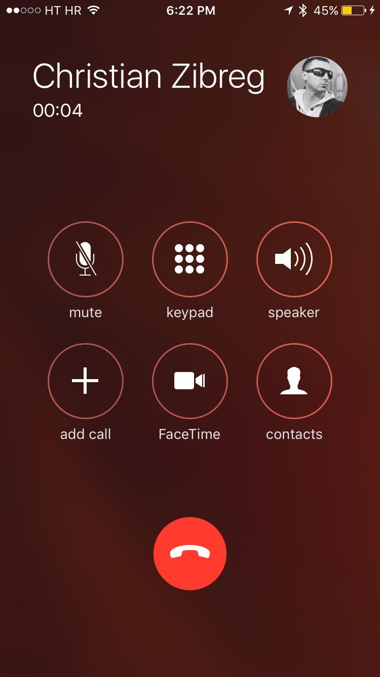 iOS 9 Phone app Now Calling screen Add Call iPhone screenshot 001