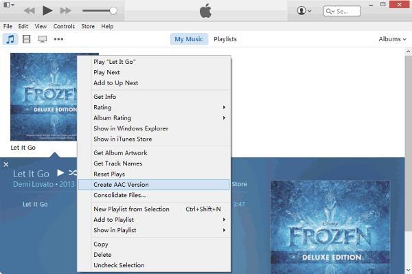 Create AAC Version on iTunes 12