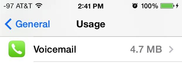 Checking Voicemail storage usage on the iPhone