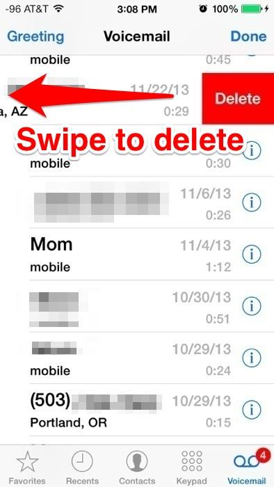 Swipe to delete Voicemail messages on the iPhone