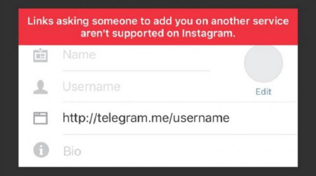 Instagram-not-allowing-links-telegram-Snapchat