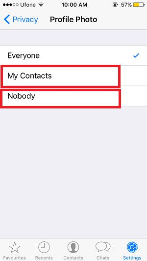 Show WhatsApp DP to nobody or only contacts