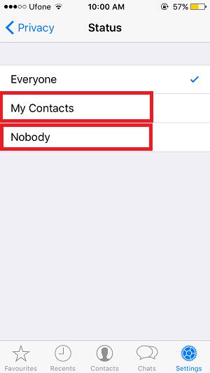 Show WhatsApp Status to nobody or only contacts