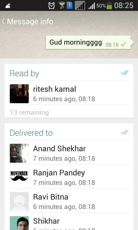 Message read and delivered in group