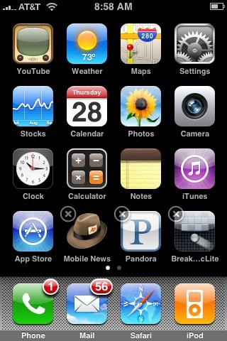 The appearance of the iPhone application icons when they are ready to be moved or deleted.