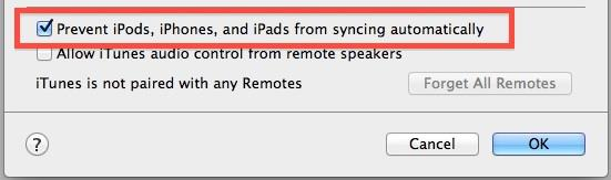 disable automatic syncing itunes