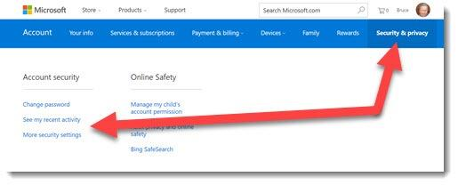 Microsoft account - security settings