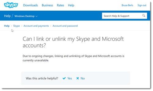 Microsoft disables linking/unlinking Skype & Microsoft accounts