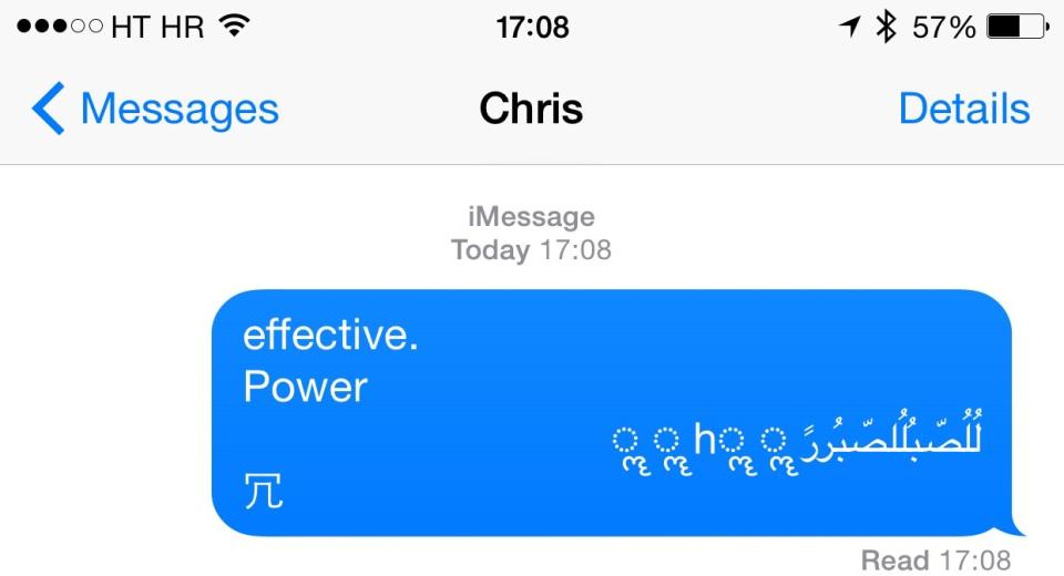 iOS Messages Arabic string bug iPhone screenshot 002