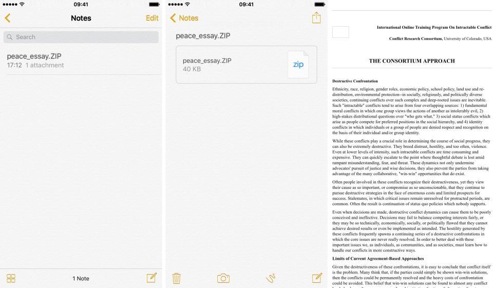 iOS 9 Notes ZIP file attachment screenshot 002