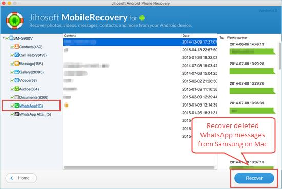 Recover Deleted WhatsApp Messages on Samsung Galaxy S6/S5/S4/S3