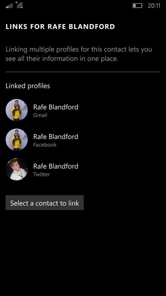 Screenshot, Windows 10 Mobile People