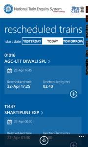 IRCTC App for Reschedule Trains