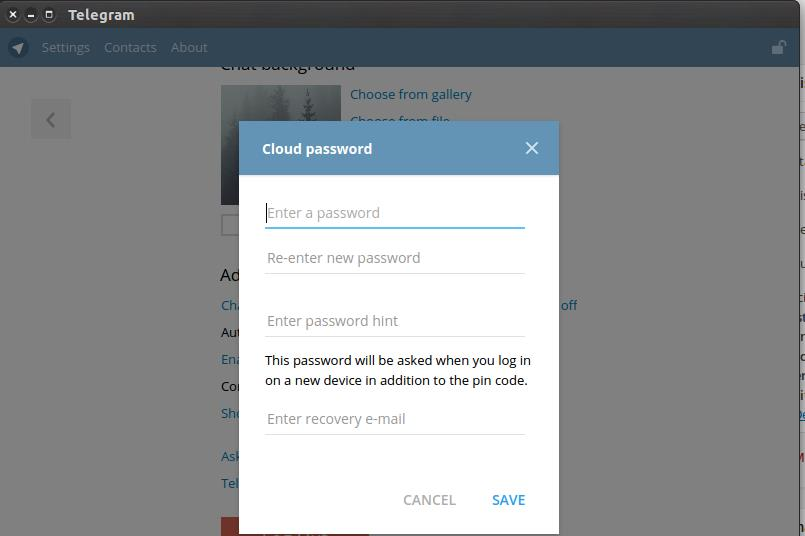 Telegram two step verification
