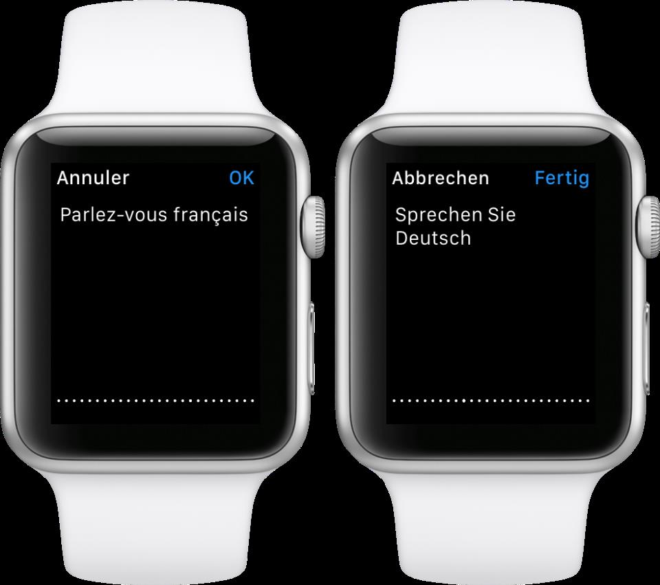 watchOS 2 Dictation language Apple Watch screenshot 001