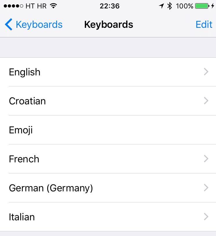 iOS 9 Settings Keyboards iPhone screenshot 001
