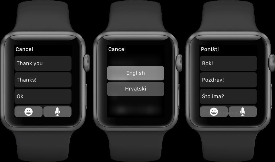 watchOS 2 Messages Default Replies change language Apple Watch screenshot 001