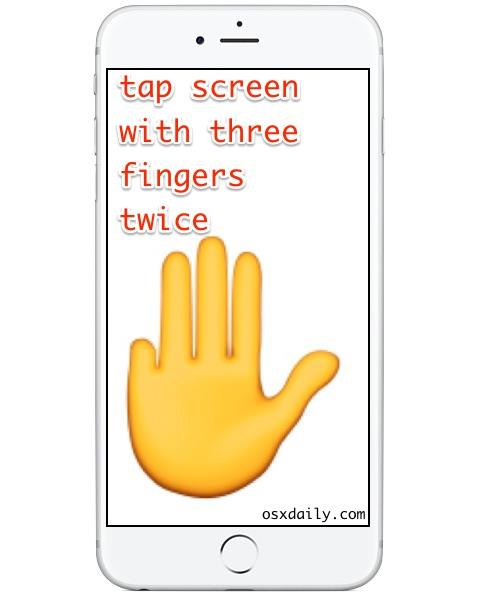 Tap twice with three fingers to exit out of Zoom mode on iPhone