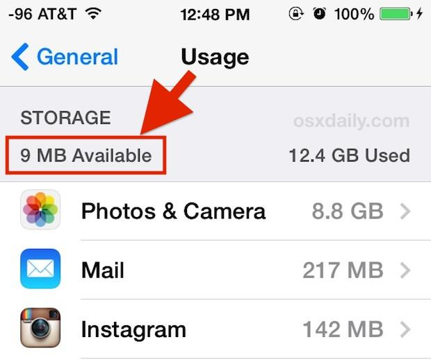 iOS Storage Space Usage Available Low