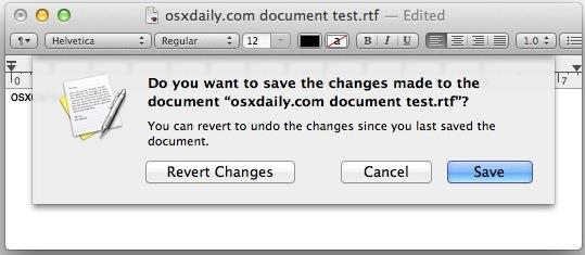 Ask to Save Files instead of Using Auto-Save in OS X