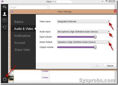 viber settings in Windows 8