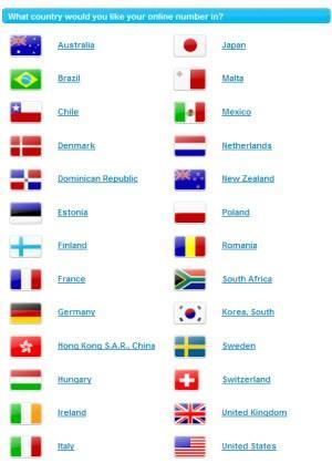 Skype Online Numbers Countries